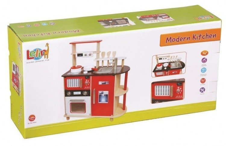Nowoczesna Kuchnia drewniana z akcesoriami 4323  sklep z zabawkami ene due eu -> Drewniana Kuchnia Z Akcesoriami Howa